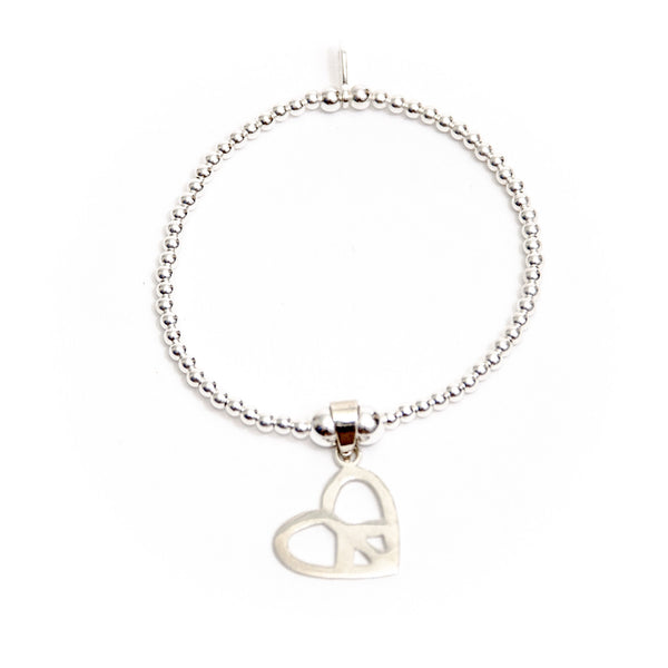 Sterling silver heart shaped peace charm bracelet