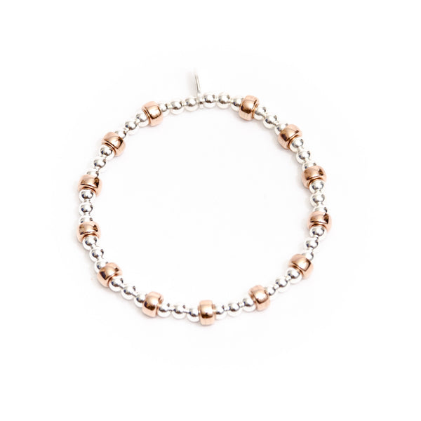Rose gold and sterling silver bracelet