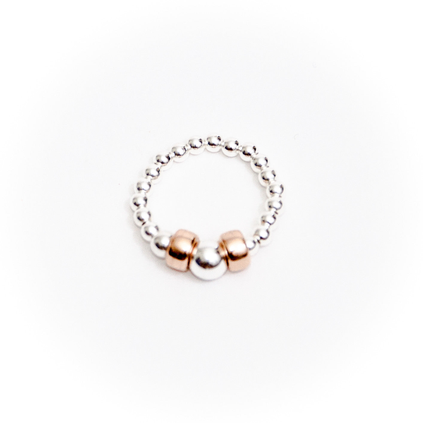 Sterling silver and rose gold ring