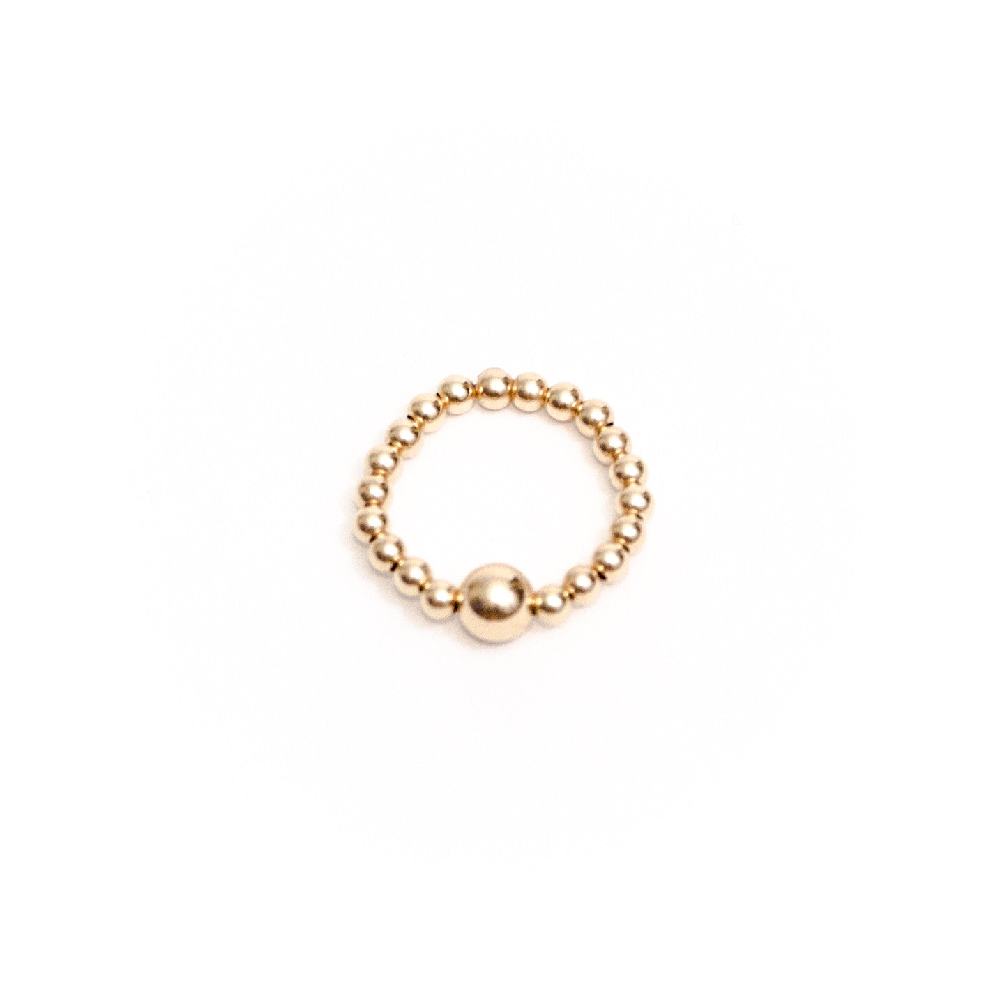 Yellow gold beaded ring
