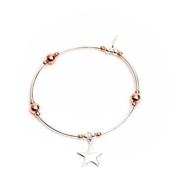 Sterling silver star charm noodle bracelet with a touch of rose gold
