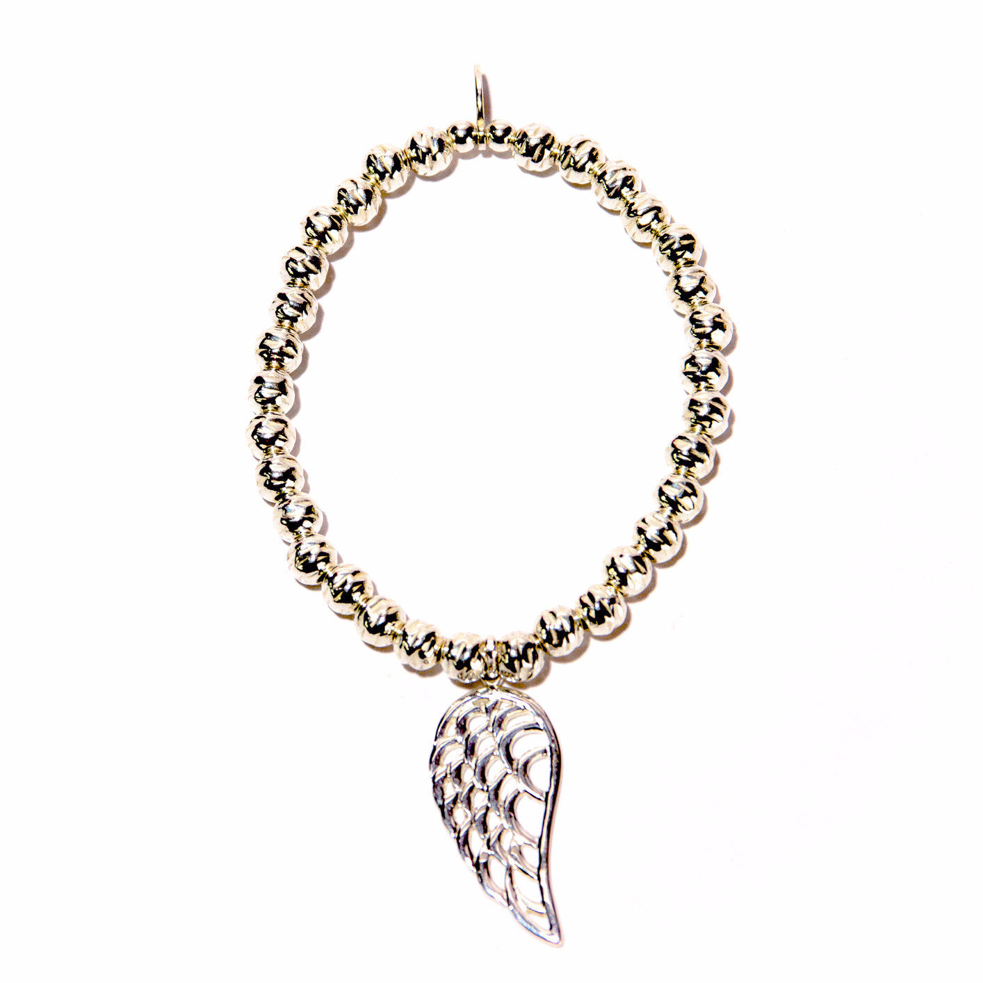 Large Angel Wing Hammered Beaded Bracelet
