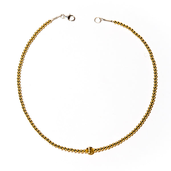 Dainty Yellow Gold Beaded Choker