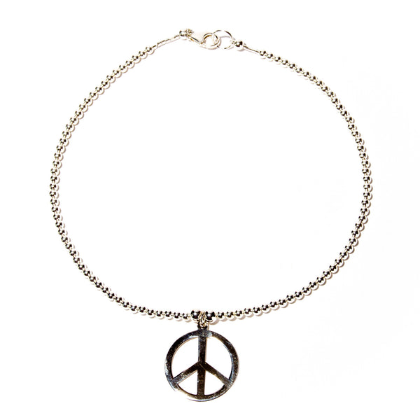 Sterling Silver Peace Sign Pendant on beaded necklace