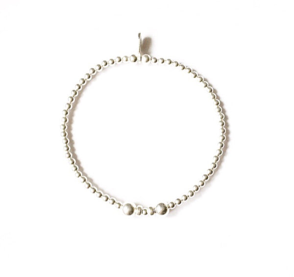 Dainty sterling silver beaded bracelet