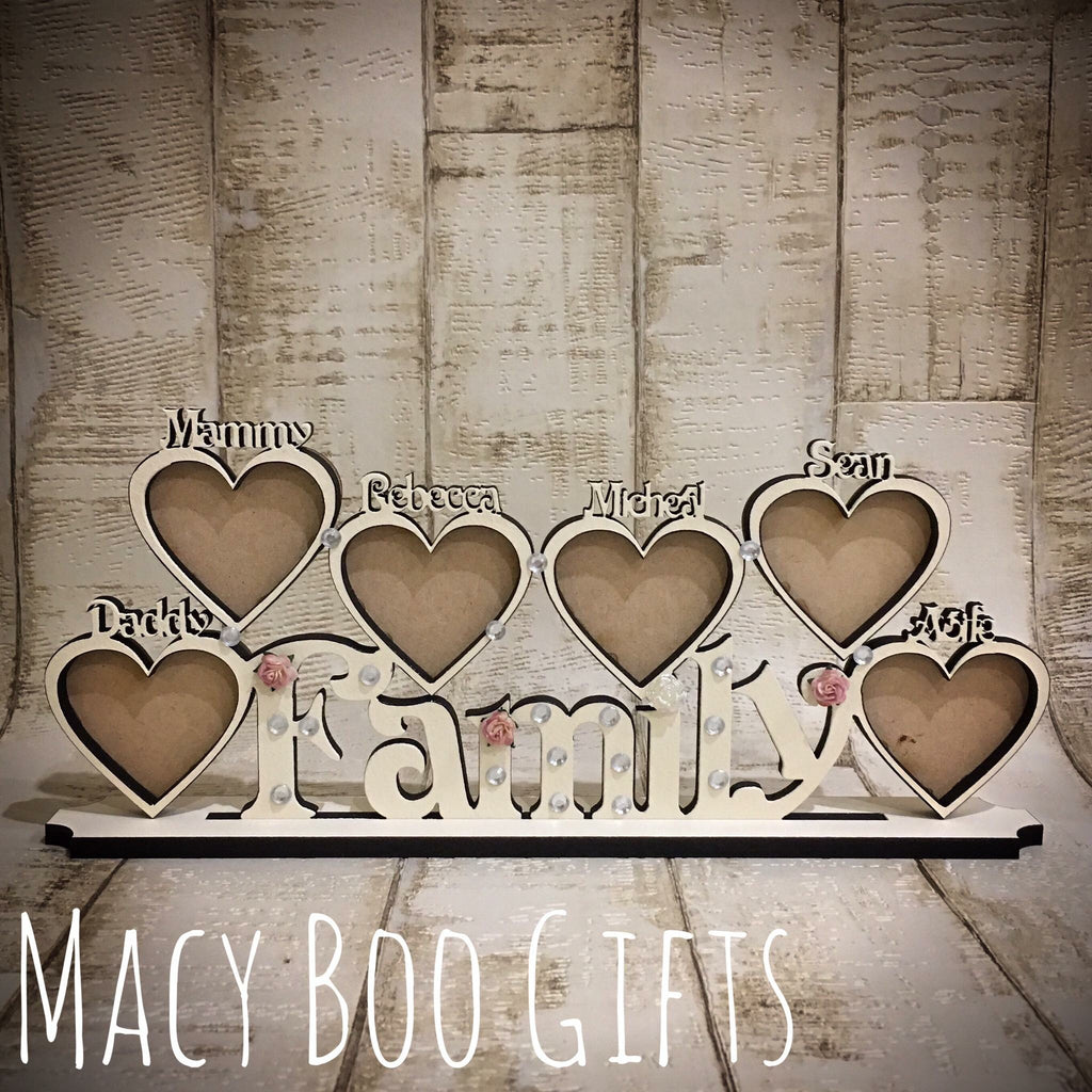 Heart photo frames WITH names added to hearts – Macy Boo Gifts