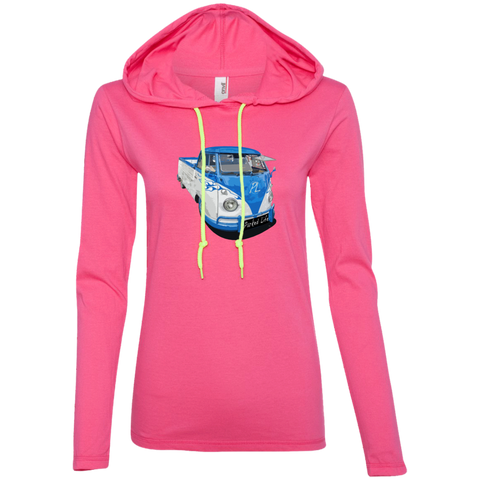 Flaming Pickup - Ladies LS T-Shirt Hoodie