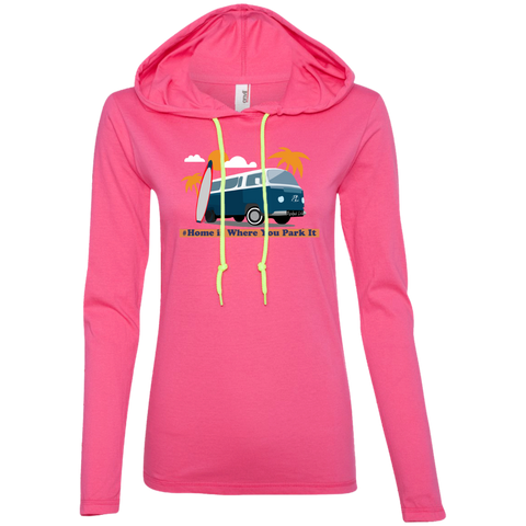Home is Where You Park It (Surf) - Ladies LS T-Shirt Hoodie