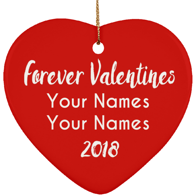 Personalized Ceramic Valentines Heart Ornament