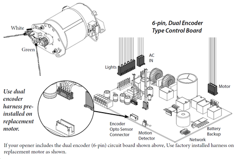 Genie Screw Drive Motor Replacement Instructions (38631A.S), Figure 8- 6 PIN Type