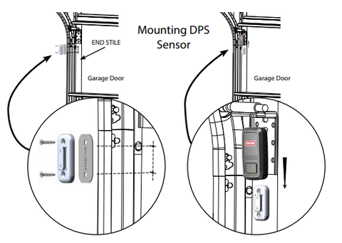 Mounting the door position sensor, DPS for Aladdin Connect