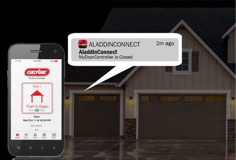 Aladdin Connect app on the phone screen showing an alert about the garage door, shown by the garage
