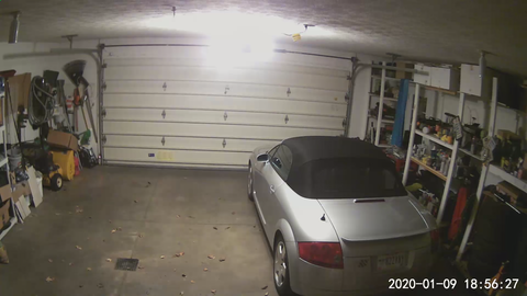Wyze camera image showing inside the garage