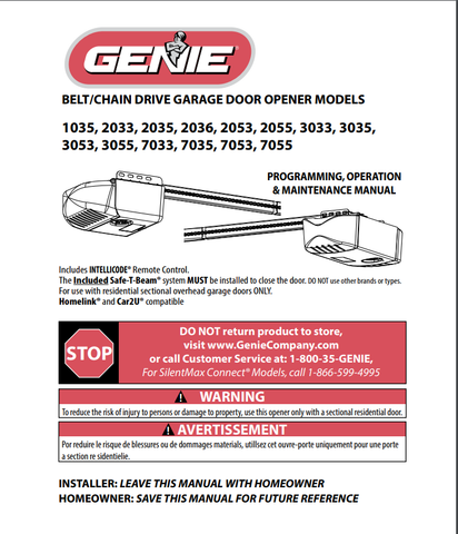 Genie garage door opener owners manual for model 2033-TKV