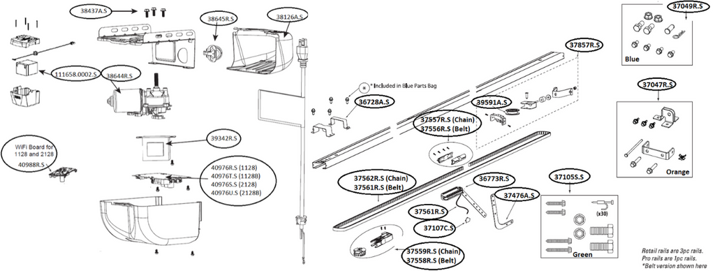 Technical diagram with parts for Genie garage door opener models 1128, 1128B, 2128, 2128B