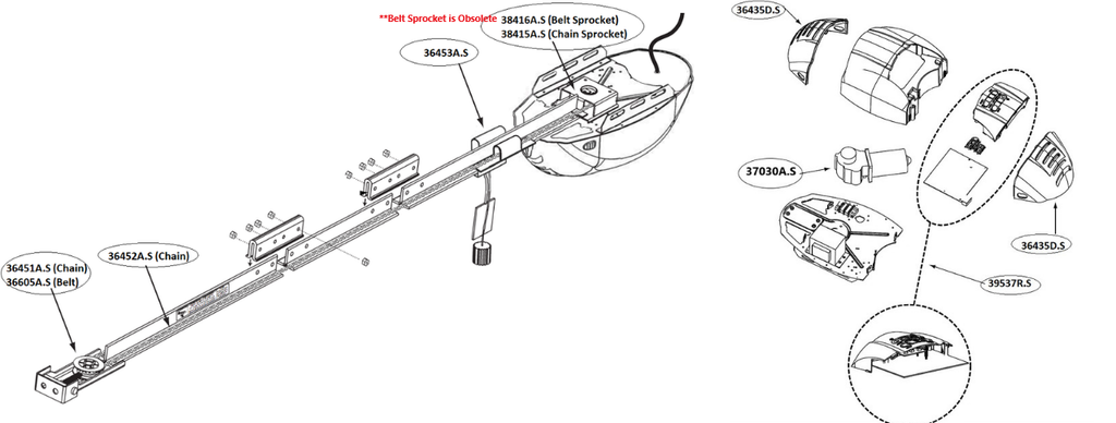 Genie garage door opener model 2022, 2024, 2027, 2042 replacement parts technical diagram view, belt drive and chain drive