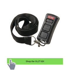 Genie garage door opener remote comparison with the 2 button flashlight remote GL2T-BX