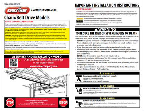 Genie garage door opener installation instructions poster for model 2033-TKV