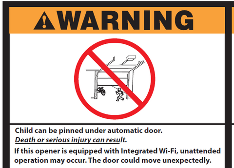 garage door warning label