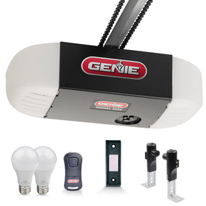 Genie Chain 550 Essentials Garage door opener with led light bulbs, remote, push button, and Safe-T-Beams