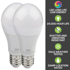 Included with the Genie Chain 550 Essentials garage door opener are these 2 Garage Door Opener rated LED light bulbs