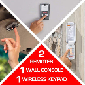 The Genie ChainDrive 750 comes with all the accessories you need, 2 remotes, a keypad, and multi function wall console
