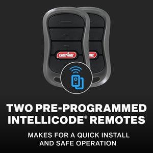 Two preprogrammed remotes included with the Genie QuietLift Connect garage door opener, makes installation easier