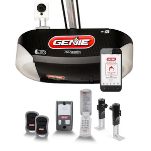 Genie Ultra-Quiet Belt Drive Smart Garage Door Opener with built in LED lighting and an add on Wi-Fi camera