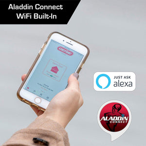 Aladdin Connect used to open and close your garage door from your phone, works with Google Assistant and Amazon Alexa