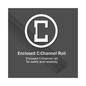 Strong enclosed C-Channel Screw drive rail