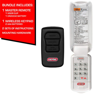 Genie garage door opener accessory bundle remote and keypad comes with programming instructions