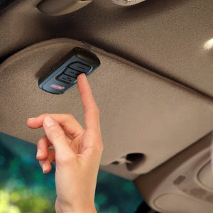 Genie's GM3T-R remote has large easy to push buttons, great for hanging on your cars visor