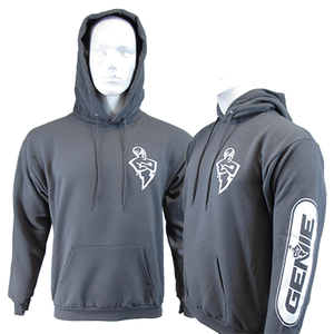 The Genie Company hooded sweatshirt featuring the Genie man logo