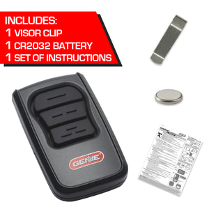 Garage door opener 3-Button Genie Master® Remote comes with visor clip and battery