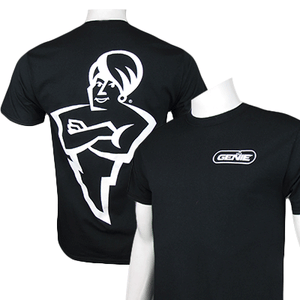 The Genie Company Brand logo t-shirt featuring The Genie Man on the back