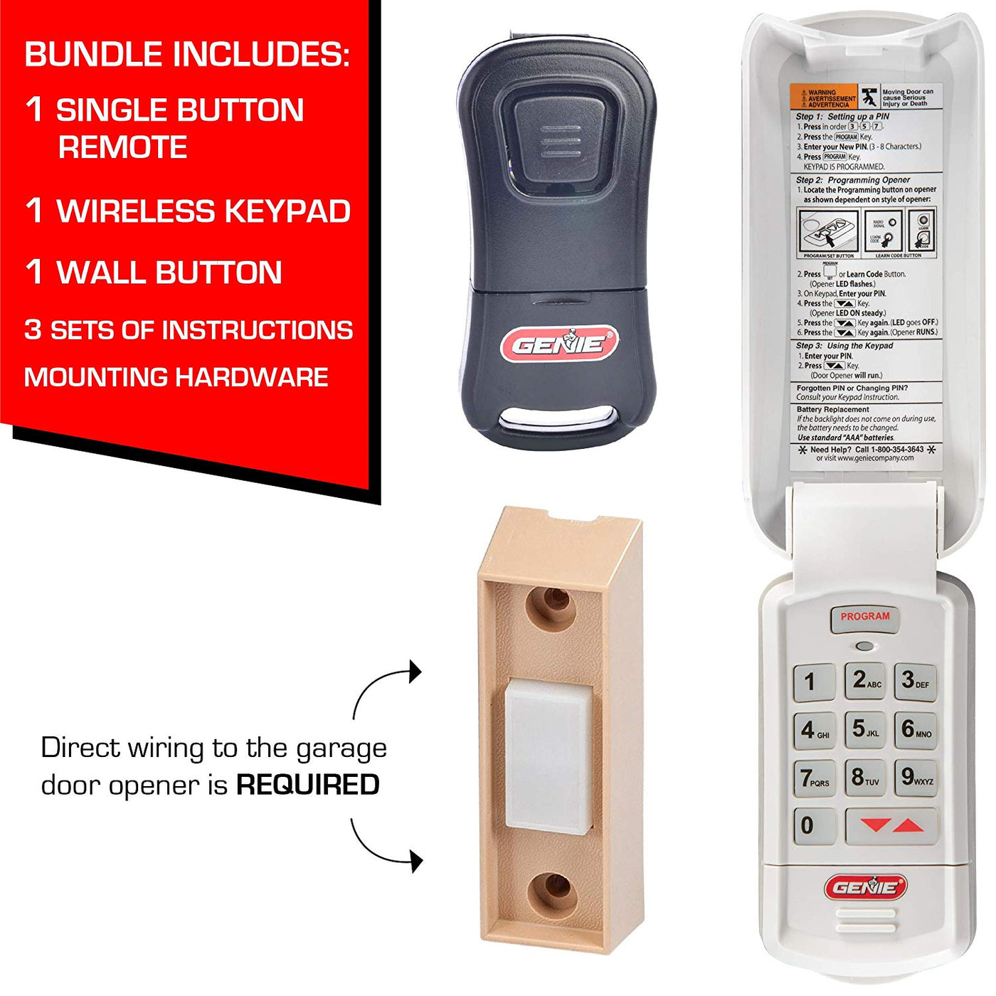 Genie Gk R Keypad And G1t Bx One Button Remote Bundle Pack
