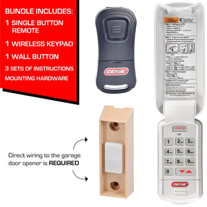 Garage door opener accessory bundle with the popular one button Genie remote, wireless keypad, and push button