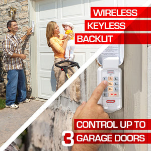 The Genie wireless keypad is backlit and can control up to three garage doors