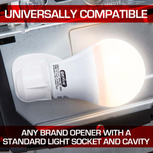 Universally compatible LED light bulb, fits any brand garage door opener with a standard light socket