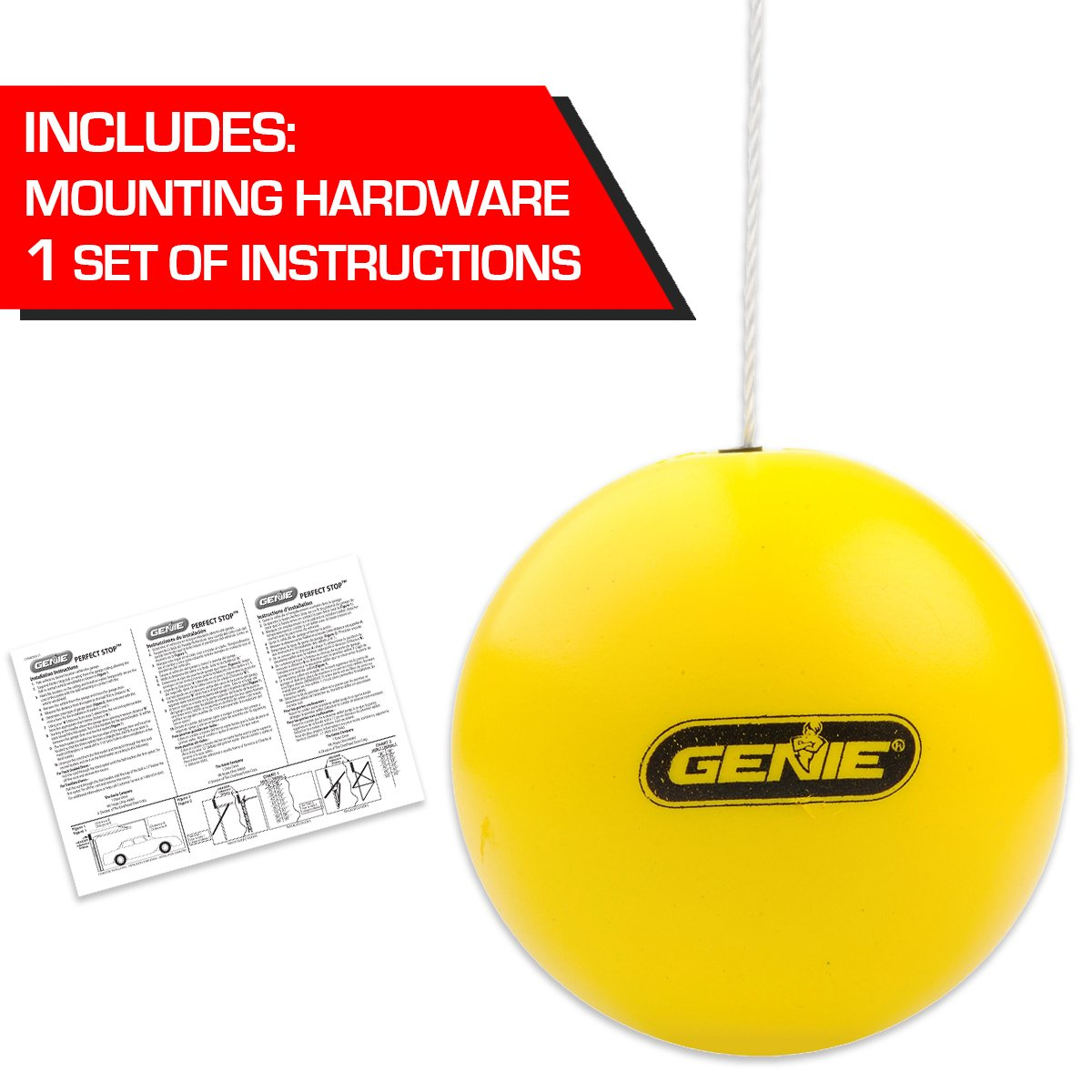 Retractable Yellow Ball Compatible with All Garage Door Openers-GPS-R Genie Perfect Stop Parking Aid one Size