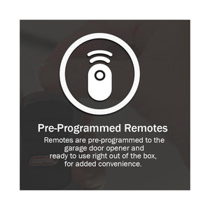 Preprogrammed remotes help for a fast install/ setup of the Machforce screw drive garage door opener