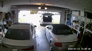 Image of the garage from a Wyze camera