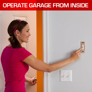 Universal Push button for garage door openers operates the garage door from inside