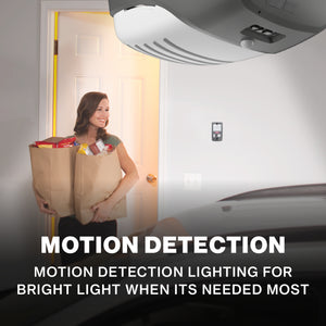 Motion Detection Lighting for safety comes with this Genie Belt Drive Garage door opener - SilentMax 1200