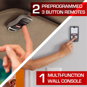 Includes 2 3-button remotes and a multi function wall console