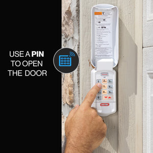 Keypad included with this Belt drive garage door opener - allows pinpad access to the garage