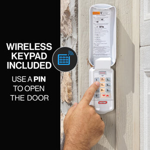 Pinpad access into the garage with the Genie wireless keypad included with the 3053-TKV, Genie Quietlift Connect