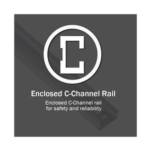 Enclosed C-Channel chain rail included with the ChainMax 1000