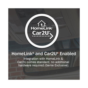 Genie garage door openers work with Homelink and Car2U