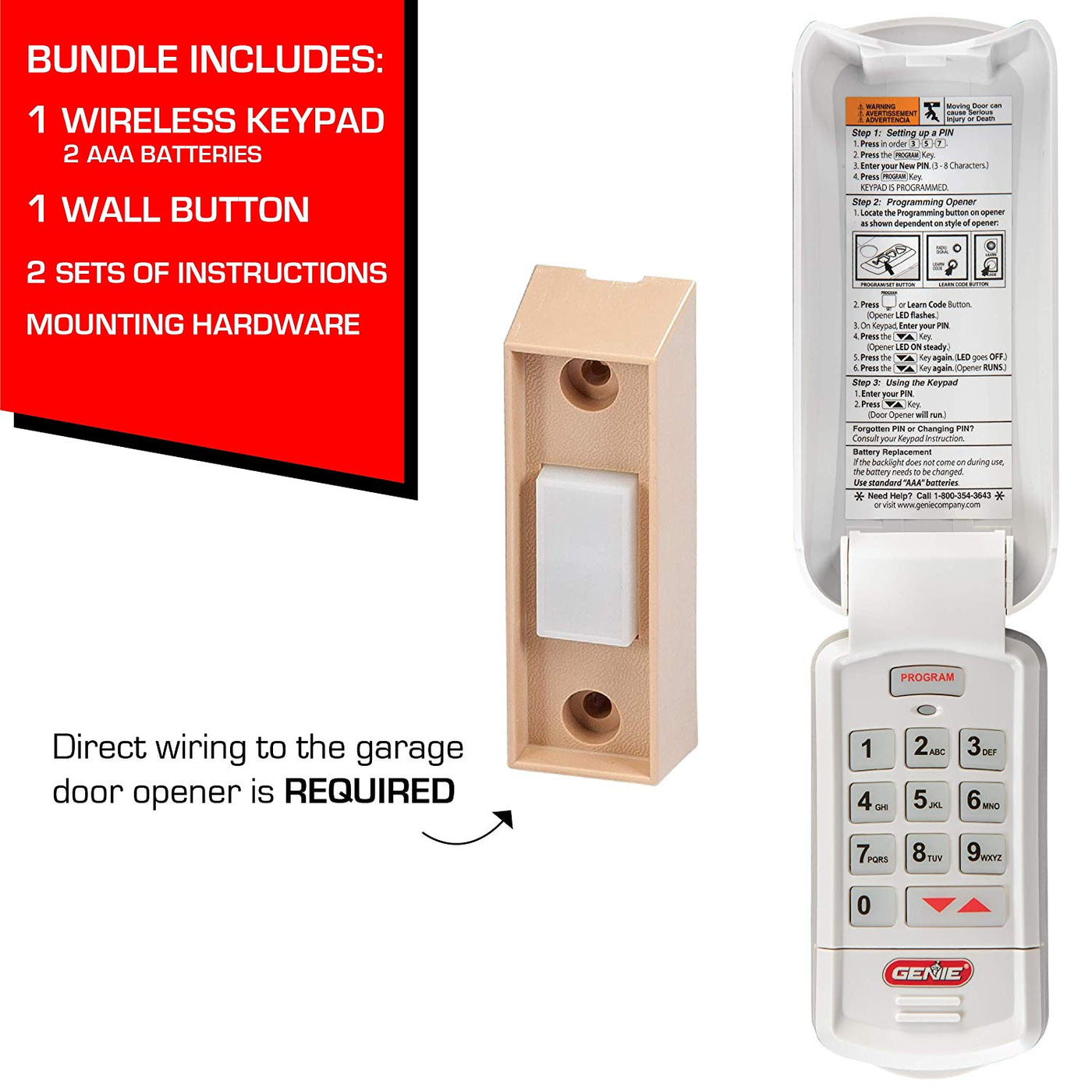 Genie Garage Door Opener Keyless Entry And Universal Push